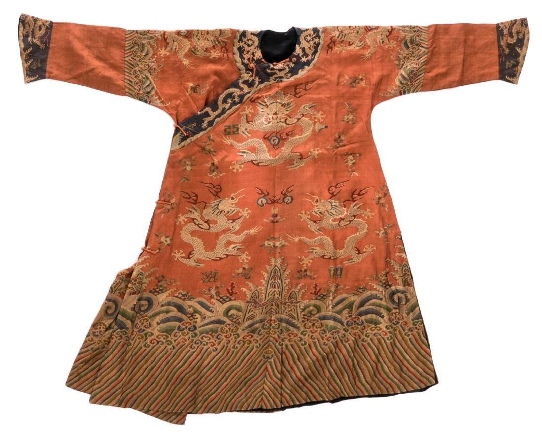 A Chinese silk embroidered dragon robe (long pao),