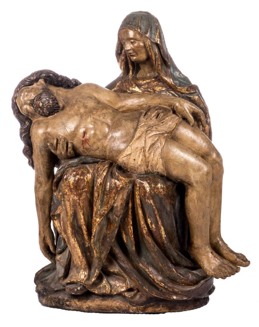 A polychrome painted wooden Pieta, probably