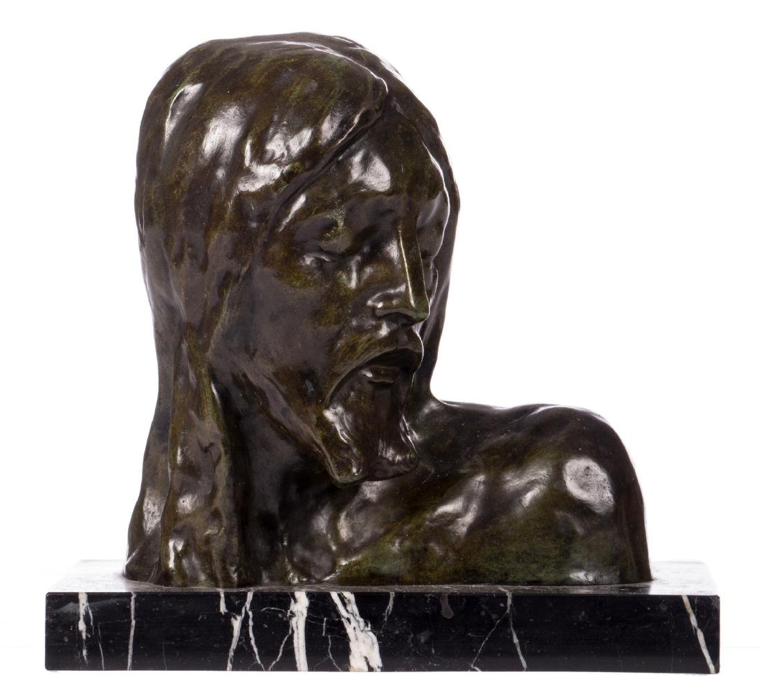 The head of the Christ, green patinated bronze on a