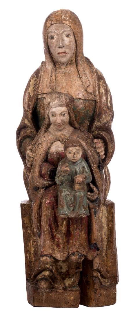 Saint Anne, with the Virgin and Child, polychrome