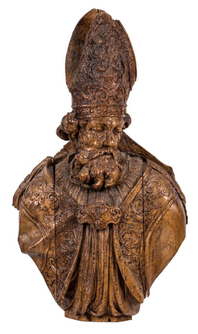 A bust of a bishop, walnut, 17th/18thC, H 107 cm
