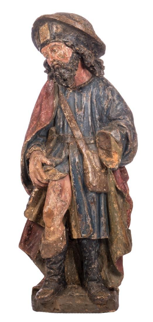Saint Rochus, polychrome painted pine, probably German,
