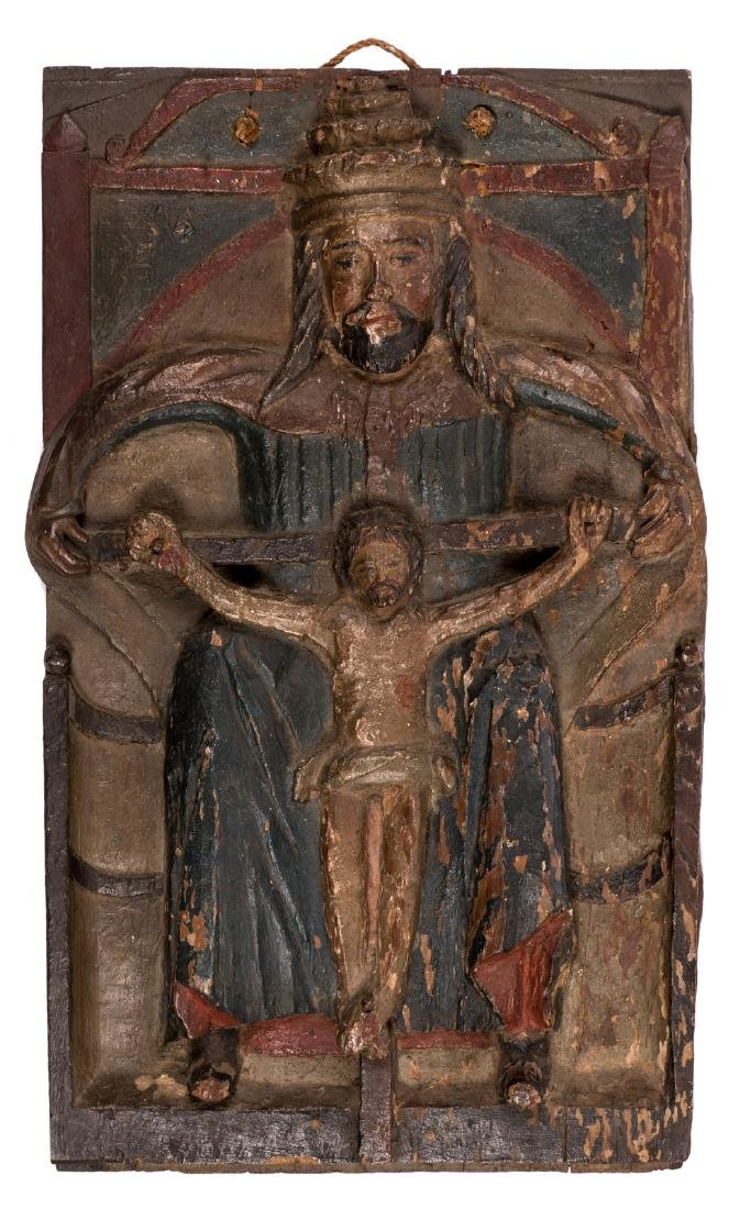 God the Father and his crucified Son, oak sculpted and