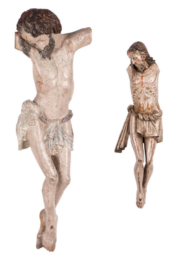 An 18thC polychrome painted limewood Corpus Christi, H