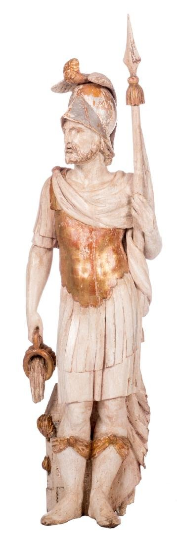 A statue of Saint Florian, polychrome painted wood,