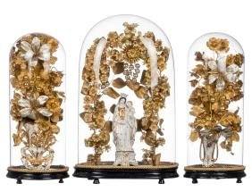 Our Lady And Child, And Two Altar Vases In 19thc