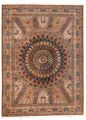 A large Persian silk rug with central medaillon and