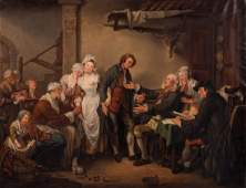 Monogram AM the engagement oil on canvas 19thC