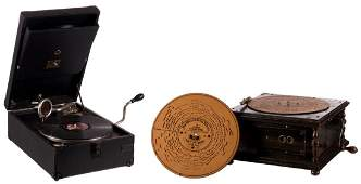 A portable gramophone 'His Master's Voice', from Maison