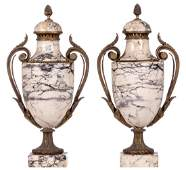 A pair of late 19thC marble cassolettes, H 56 cm