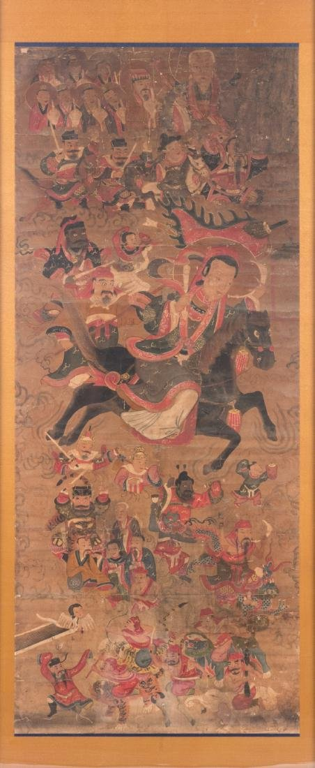A Chinese scroll,framed, silk mount, depicting