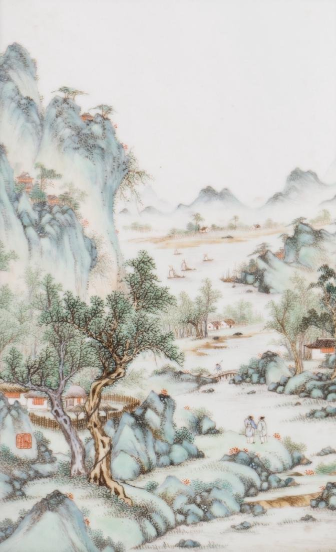 A Chinese polychrome porcelain plaque, decorated with