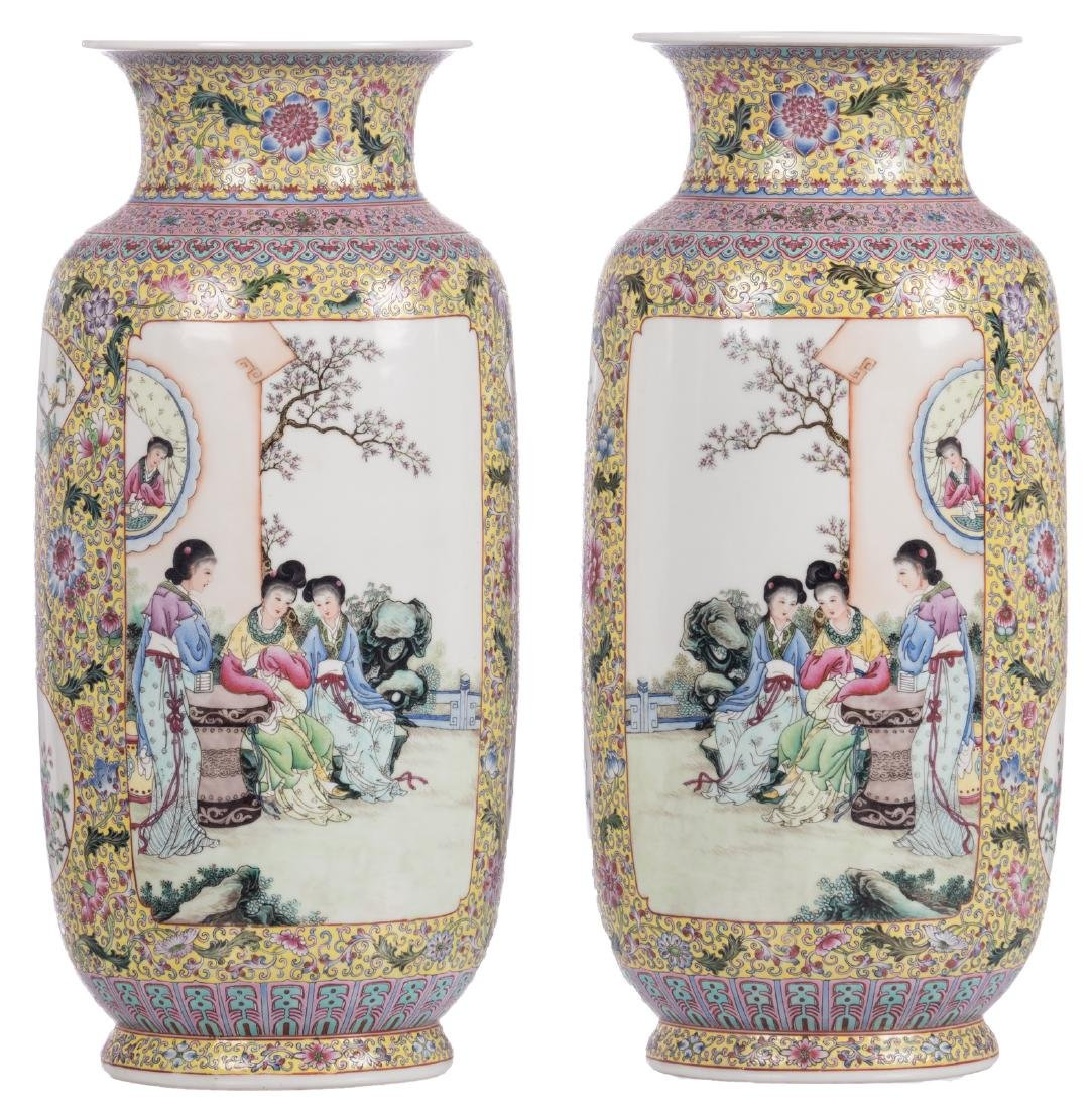 A pair of Chinese yellow ground famille rose floral