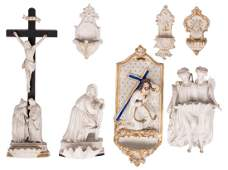 A lot of 7 various Holy Water fonts in polychrome and