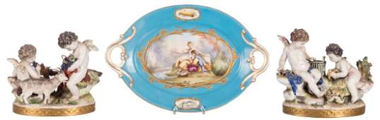 A polychrome decorated decorative bowl with a Svres