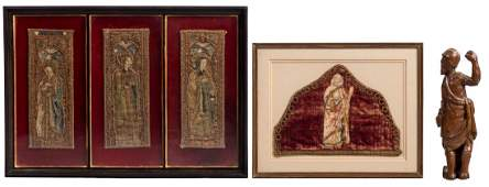 Four framed religious embroideries, three triptych
