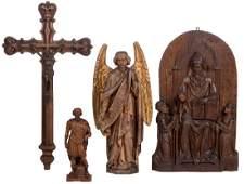 An oak alto relievo, depiciting three saints, 19thC;