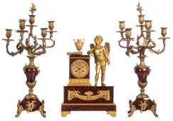 A Neoclassical mantle clock, rouge impérial marble
