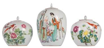Three Chinese famille rose ginger pots and covers one