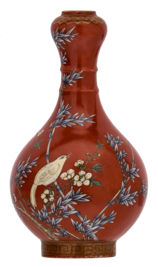 A Chinese orange ground polychrome and gilt decorated