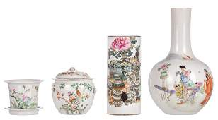A Chinese famille rose decorated bottle vase a pot and