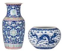 A Chinese blue and white decorated bowl with dragons