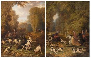 Malenson P two hunting scenes in the manner of the