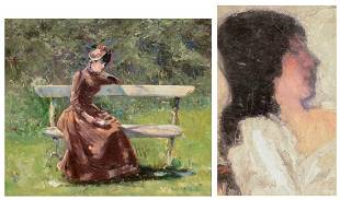 Unsigned a musing lady in a park oil on panel 325 x
