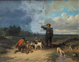 De Braekeleer A a hunting scene oil on canvas 67