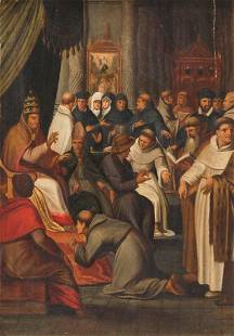 Unsigned at the popes audience oil on panel 19thC