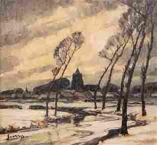 Saverys A a winter landscape oil on canvas 65 x 69