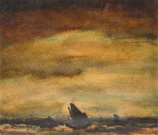 Van Hecke W a marine oil on paper dated 1944 in an