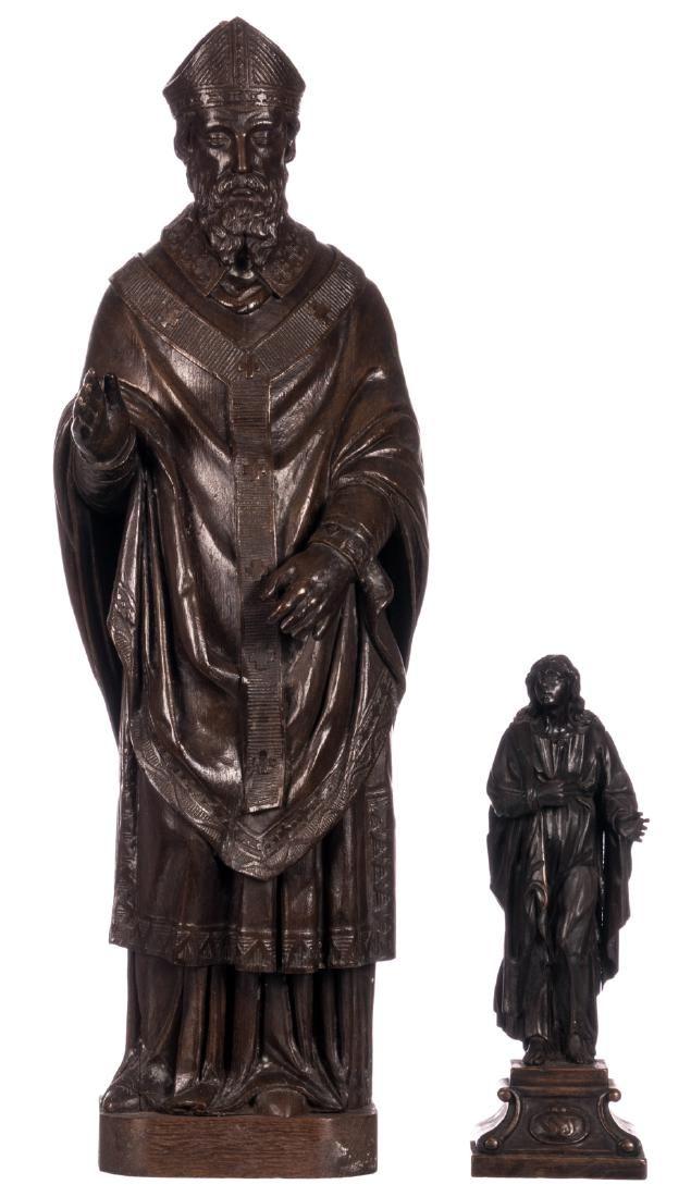 An oak sculpture depicting a bishop 18thC added a