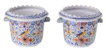 Two tin glazed polychrome decorated in the Delft manner