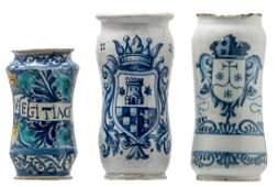 A 17thC Italian polychrome decorated majolica albarello;