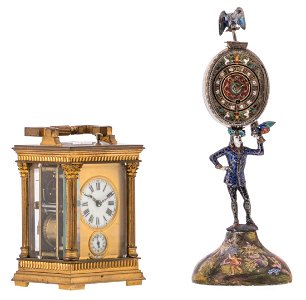 A possibly Russian and 18thC clock, the dial champleve