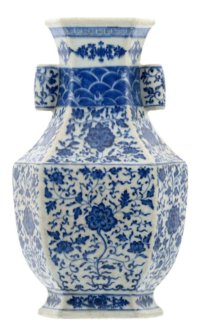 A fine Chinese blue and white floral decorated Hu vase