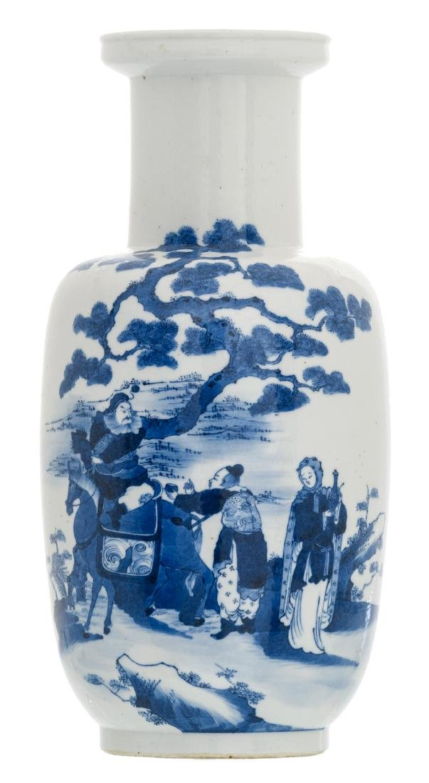 A Chinese blue and white decorated begonia shaped vase