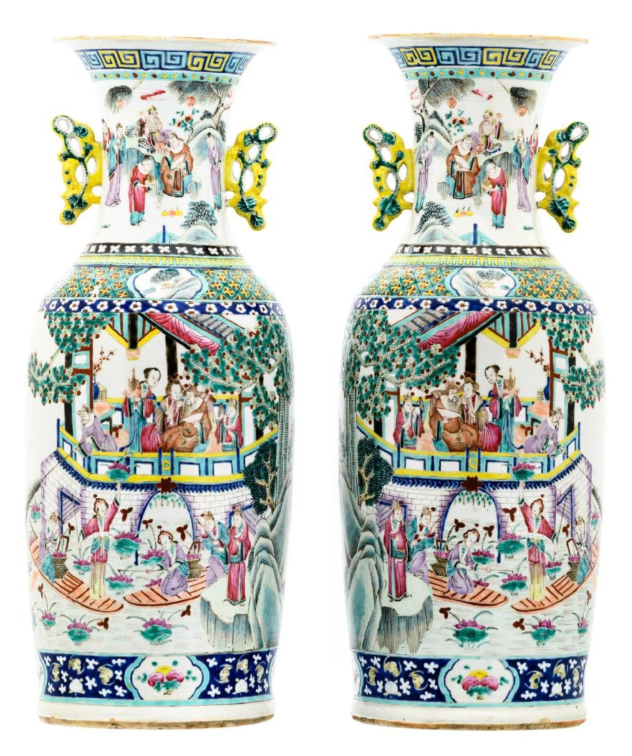 A pair of Chinese famille rose overall decorated vases