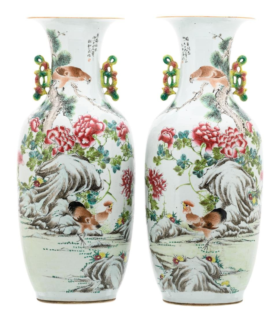 A pair of Chinese famille rose and polychrome decorated