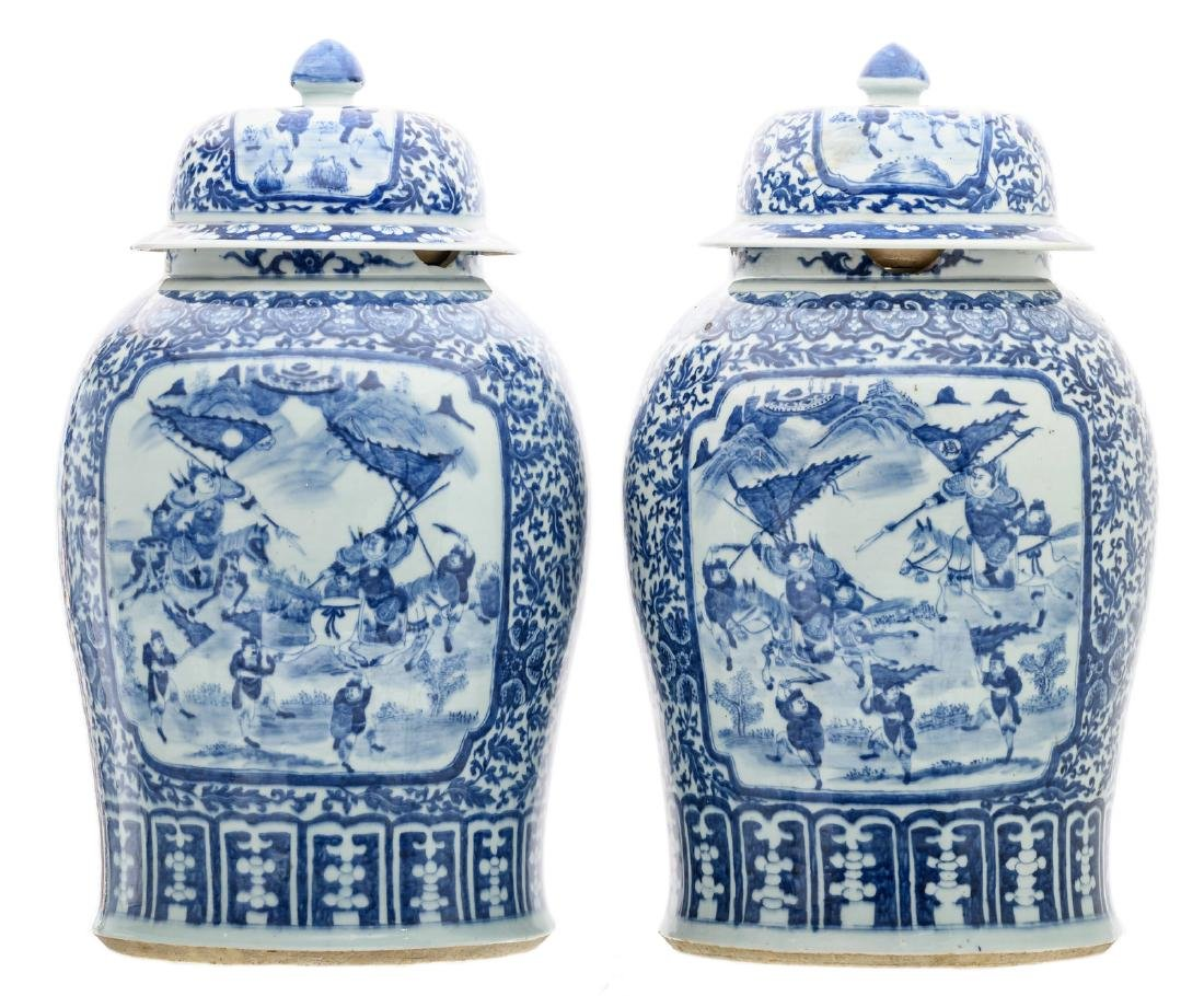A pair of impressive Chinese celadon ground blue and