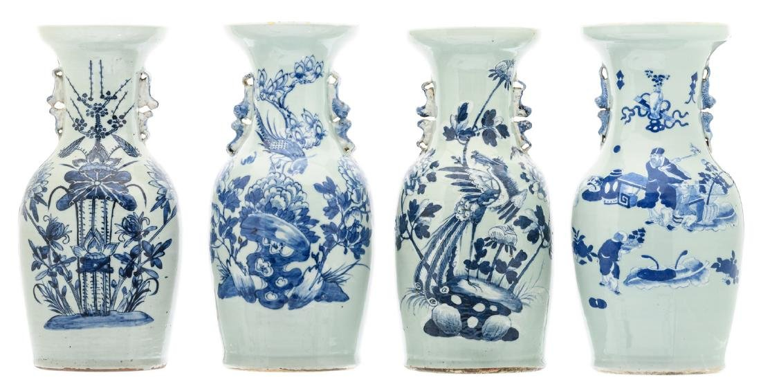 Four Chinese blue and white floral decorated vases, one