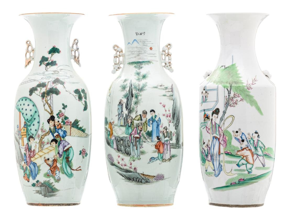 Three Chinese polychrome decorated vases with various