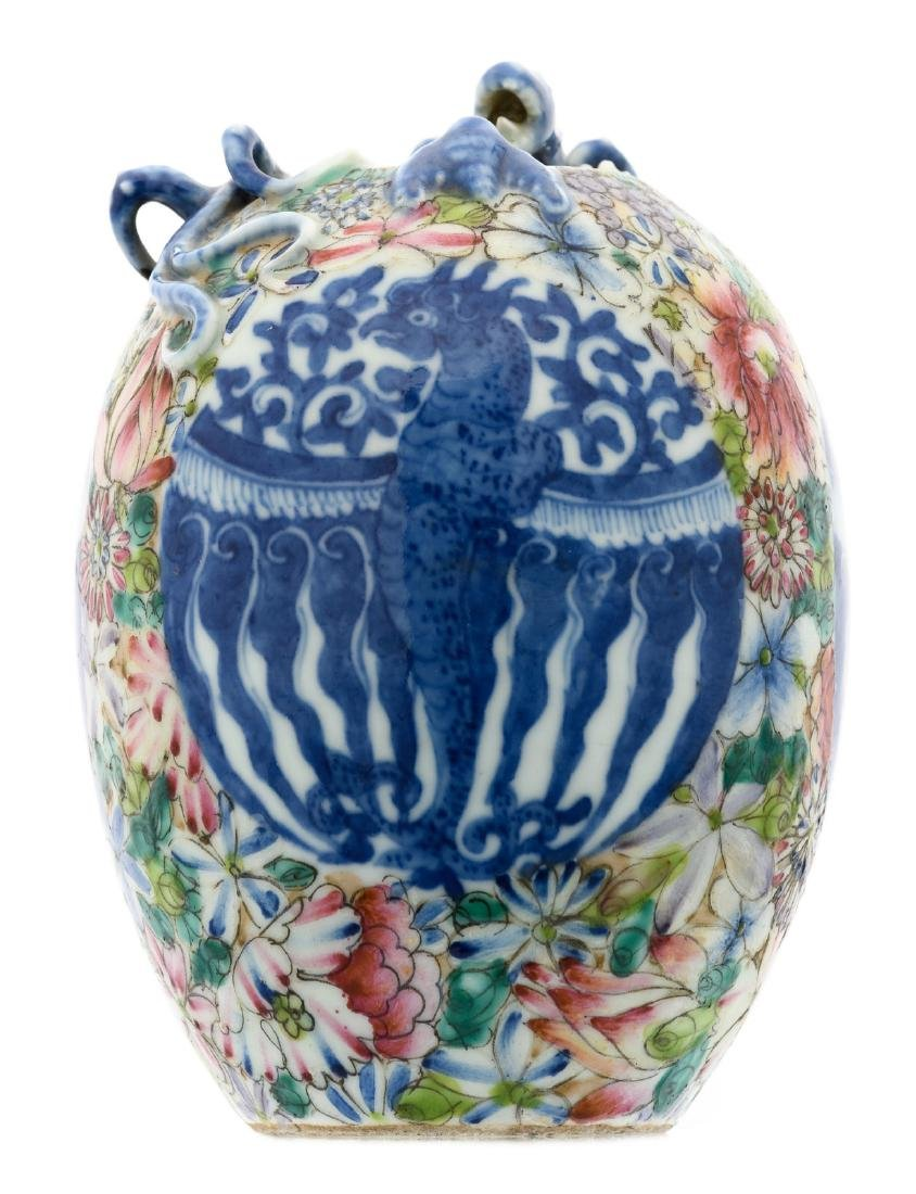 A Chinese millefleurs ground blue and white relief