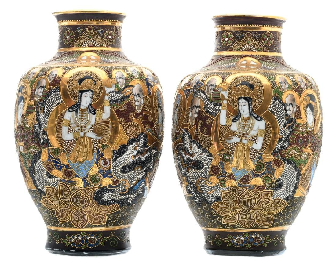 Two Japanese baluster shaped Satsuma vases, overall
