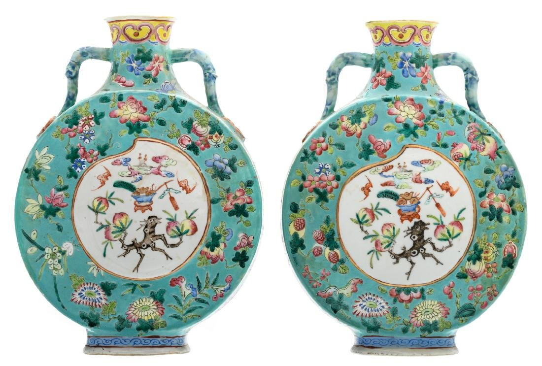 Two Chinese turquoise ground famille rose floral