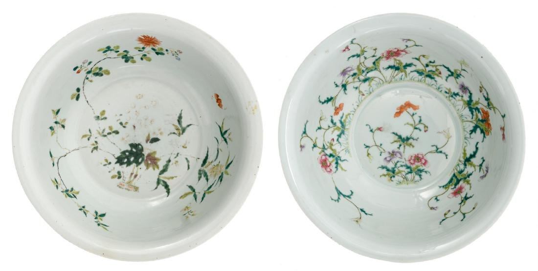 Two Chinese famille rose bowls decorated with bats and