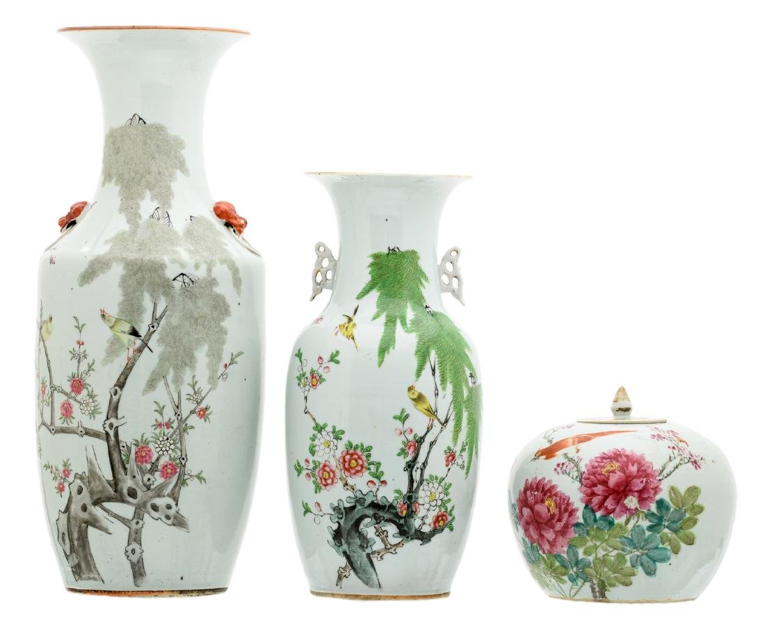 Two Chinese famille rose vases and a ditto ginger jar