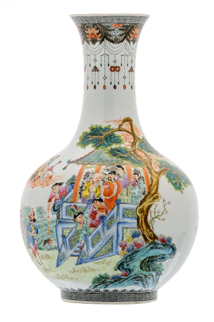 A Chinese famille rose bottle vase, overall decorated