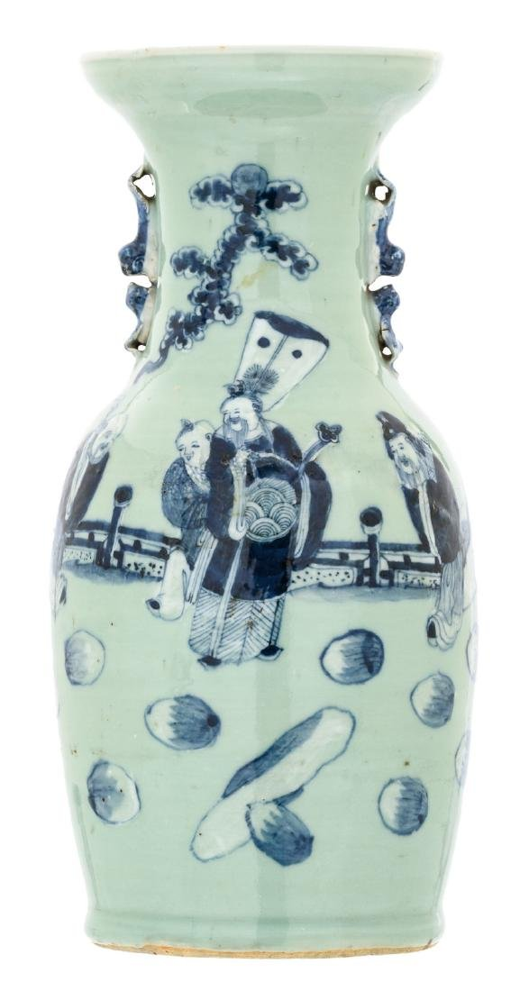 A Chinese celadon ground blue and white decorated vase